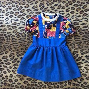 Vintage patchwork dress size 5-6 eyelet puff